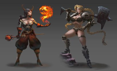 Sorceress and Warrior commissions by ZEBES