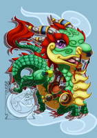 Chibi Mount - Jade Cloud Serpent by LadyRosse
