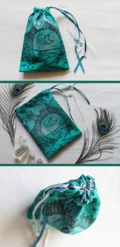 Silver and Teal Moon Gate Pouch: Tarot, Dice Runes by ImogenSmid