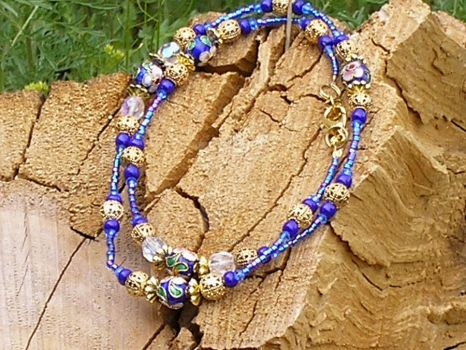 Blue Anklet Bracelet Wrap by Healersmoon