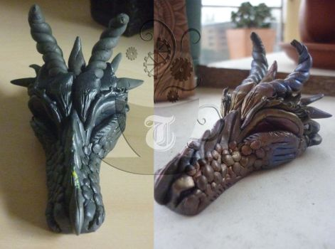 progress shots for dragon head by Tariray