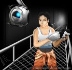 Chell and Wheatley by SmudgedPixelsArt