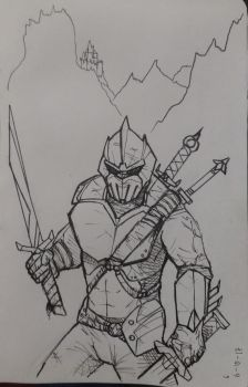 Inktober17 Day 6-Lone Knight by Dan21Almeida95