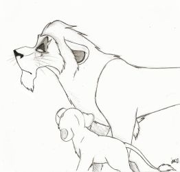 Sketchy Scar and Nala by SocksTheMutt