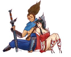 Yasuo and Ahri by sukebenee-san
