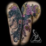 Lindseys-lion-and-flowers-half-sleeve-tattoo-by-be by Ben-Lucas