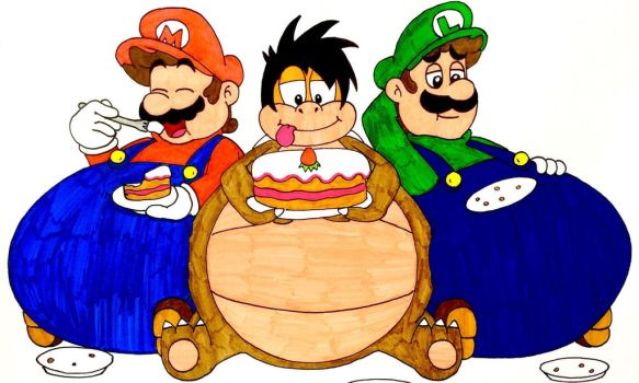 Brandy's birthday meal with the Mario bros by Iwatchcartoons715