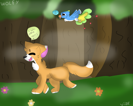 The fox and the bird by WolfyViide