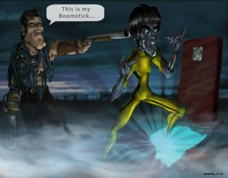 Bruce Campbell vs. Bruce Lee by Sgrum