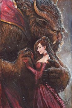 beauty and the beast acrylic commission by nebezial