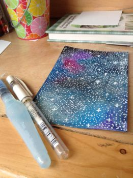 Galaxy Watercolor Painting by lolleepoptarts