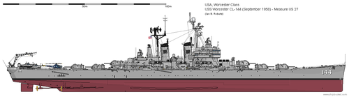 USS Worcester CL-144 (September 1958) - Ms US 27 by ColosseumSB