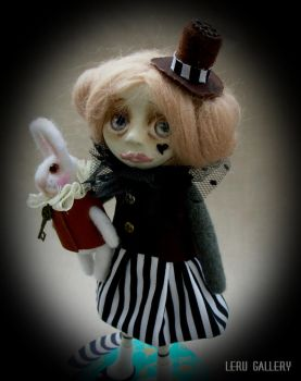 Alice in Wonderland with White Rabbit. Art doll by LeRuGallery