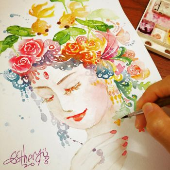 water color painting by Estheryu