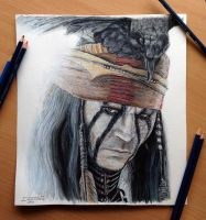 The Lone Ranger-Tonto Color Pencil Drawing by AtomiccircuS