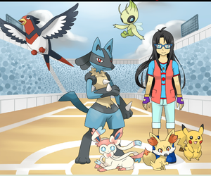 Me (Alexis) as a Pokemon Trainer with my team! by Mobian-Gamer