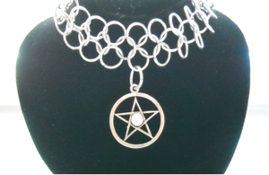 Pentacle Chainmail Choker 2 by HoneyCatJewelry