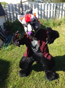 when u wanna b relevant so you fursuit in the yard by WOODLAND-GHOUL