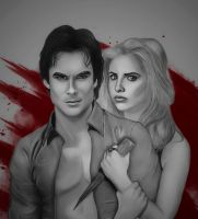 Damon and Buffy by JabberjayArt