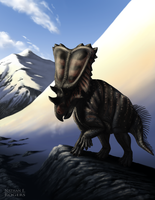 Chasmosaurus in the Mountains by MicrocosmicEcology