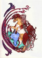 Art Nouveau-Horse by MarieBiscuit