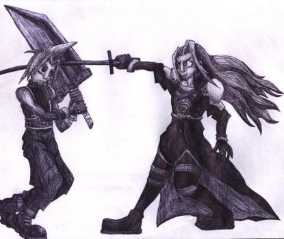 Cloud and Sephiroth by InkBunny