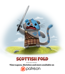 Day 1394. Scottish Fold by Cryptid-Creations