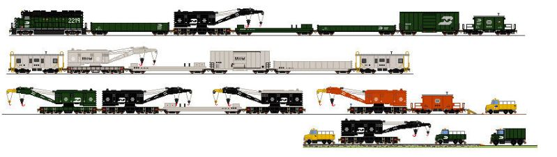 MOW Breakdown Trains by Tractor-Drawn-Aerial