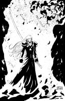 INKTOBER DAY 31: FF VII: Sephiroth at Nibeliheim by Shono