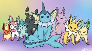 Eeveelutions by songthedemonpuppy