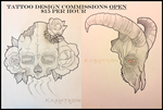 Traditional / Tattoo Design Commissions AVAILABLE! by Kxamtxon