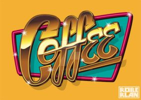 Coffee Sign Vector Vintage Type by roberlan