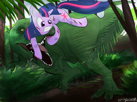 Twilight Sparkle vs. T-Rex (Request) by treespeakart