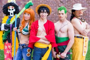 One Piece Nami Luffy Usopp Brook Cosplay Time Skip by firecloak