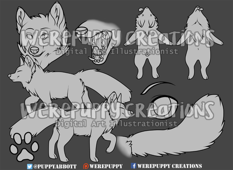 Fox Lineart Pack by Werepuppy
