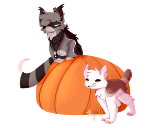 [YCH] spooky cats! by Abberistired