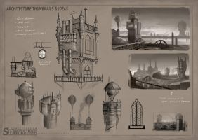 SteamBug Noir - Architecture Sketches 1 by MikeCoombsArt