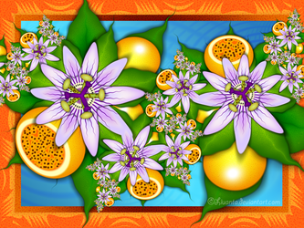 Maracuja and passion flowers by Liuanta