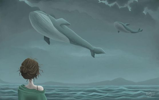 Flying whales by Sesy