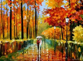 Autumn Rain by Leonid Afremov by Leonidafremov