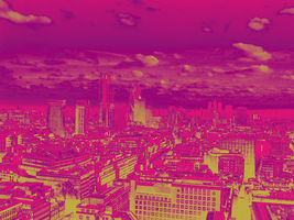 Violet Cityscape by Excentus