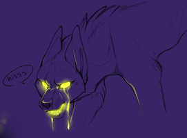 spooky glow dog is mad cause he dropped his soda by Loopy44