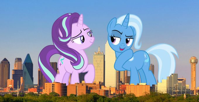 Starlight and Trixie in Dallas by TheOtterPony