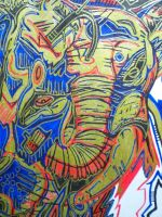 AFRICA ELEPHANT UNFINISHED by L-A-K-ART