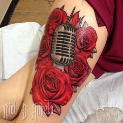 Microphone and Roses Tattoo by NickDAngeloTattoos