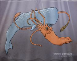 whale vs giant squid by turtletron