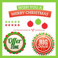 Set Of Christmas Elements Free Vector by vecree