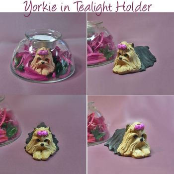 Yorkie Tealight Holder by dreamweaversculpts