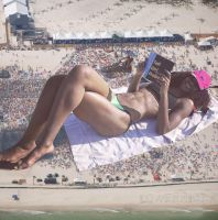 giantess relaxing on the beach by lowerrider