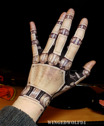 Android Hand Bodypaint by wingedwolf94